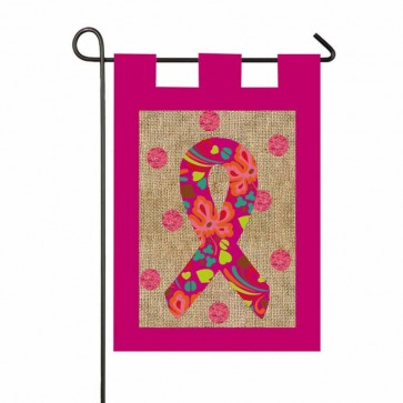 Pink Ribbon Burlap Garden Flag Garden Flags On Sale