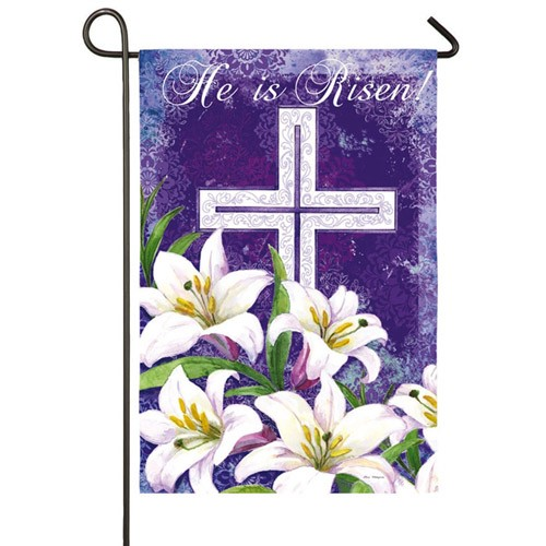 Easter Cross And Lillies Garden Flag Easter Flags Holidays