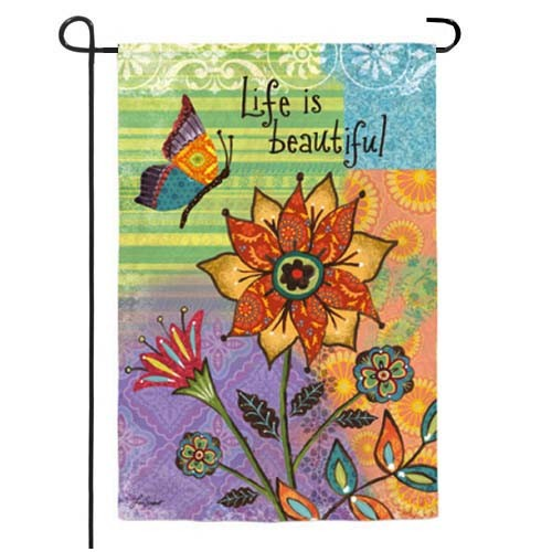 Life Is Beautiful Garden Flag Two Flags In One Spring