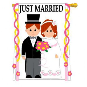 Just Married House Flag