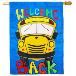 Welcome Back School Bus House Flag